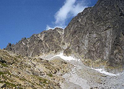 Zadni Gerlach, Przełęcz Tetmajera i zbocze Gerlachu.Widok z Niżnej Batyżowieckiej Równi