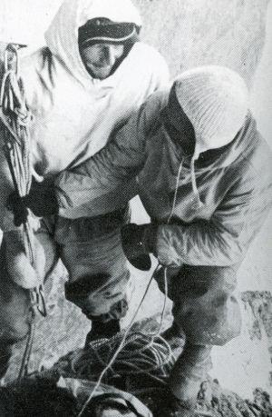 Heinrich Harrer i Fritz Kasparek podczas pierwszego przejścia północnej ściany Eigeru